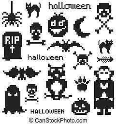 temat, komplet, halloween, ikony