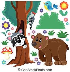 temat, komplet, zwierzęta, las, 3