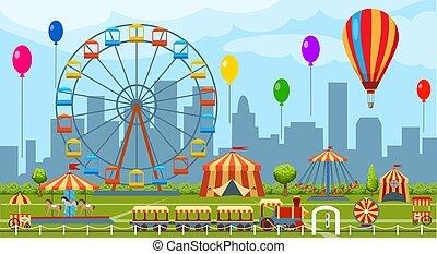 temat park, rozrywka, ilustracja