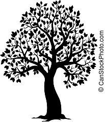 temat, pokryte obficie liśćmi drzewo, sylwetka