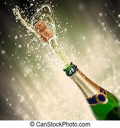 temat, szampan, bryzgając, celebrowanie