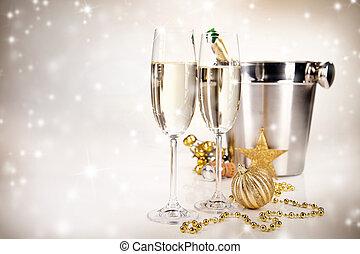 temat, szampan, celebrowanie, wino