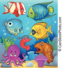 temat, wizerunek, 3, fauna, koral