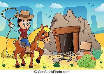 temat, wizerunek, 3, koń, kowboj