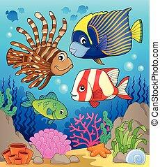 temat, wizerunek, fish, rafa, koral