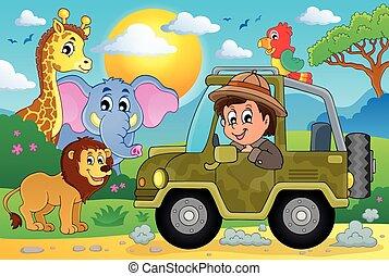 temat, wizerunek, safari