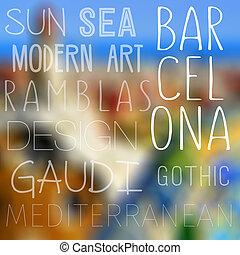 tematy, od, barcelona, hiszpania