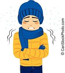 temblorosos, congelación, hombre