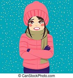 temblorosos, mujer, invierno