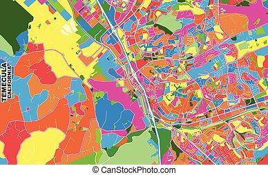 Temecula, California, USA, colorful vector map