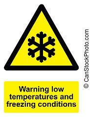 temeratures, congelamento, -, isolato, segno giallo, avvertimento, nero, basso, fondo, bianco, condizioni
