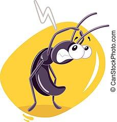 temeroso, insecto, vector, caricatura, cucaracha
