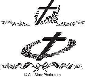 temetés, koszorú, kereszt