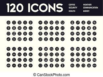 temi, 120, differente, set, icone