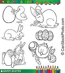 temi, coloritura, pasqua, cartone animato