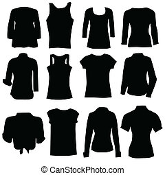 temný šatstvo, silueta, umění, ženy