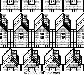 temný i kdy běloba, abstraktní, vektor, ubytovat se, a, vilka, nepřetržitý, grafické pozadí, nemovitost, theme., okres, pojem, seamless, pattern.