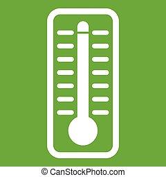température, élevé, indique, vert, thermomètre, icône