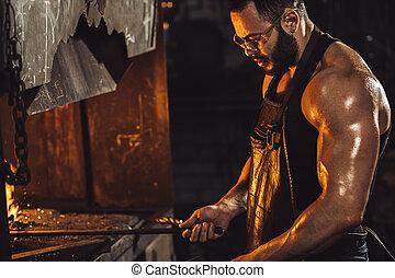 température, chaud, fournaise, jeune, morceau, quoique, travail, forgeron, chauffage, acier