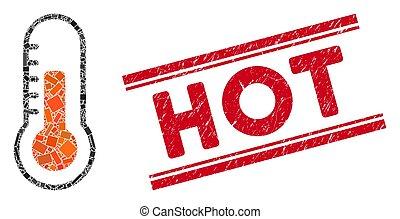température, chaud, mosaïque, timbre, cachet, grunge, lignes