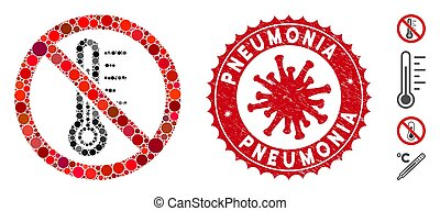 température, collage, non, coronavirus, timbre, grunge, pneumonia, icône