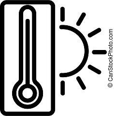température, contour, vector., illustration, symbole, isolé, icône