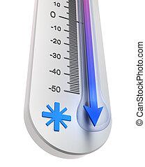 :, température, déclin, thermomètre