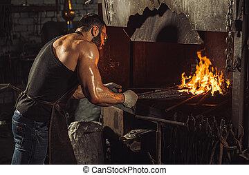 température, fournaise, chaud, forgeron, quoique, chauffage, acier, travail, jeune, morceau