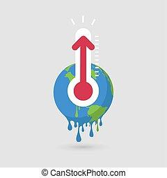 température, globe, élevé, temps, thermomètre, thermometer.,...