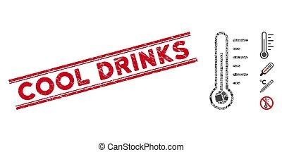 température, gratté, boissons, mosaïque, timbre, frais, lignes