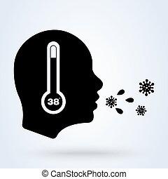 température, grippe, élevé, maladie, toux, fièvre, maladie, symptoms., thermomètre, icon., virus, symbols.