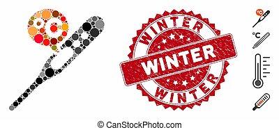 température, hiver, icône, cachet, celsius, collage, détresse