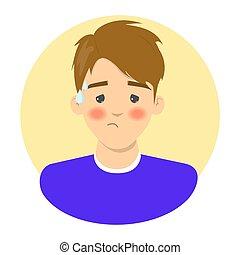 température, homme, grippe, symptôme, fièvre, élevé