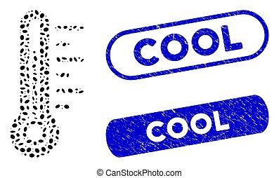 température, mosaïque, ellipse, filigranes, grunge, frais
