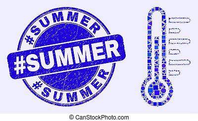 température, mosaïque, timbre, bleu, cachet, gratté, #summer