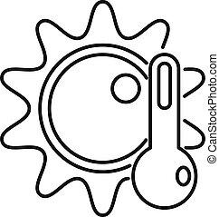 température, style, icône, soleil, élevé, contour