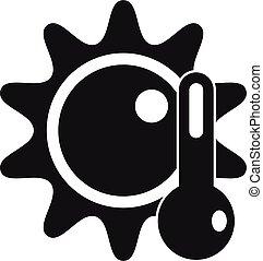 température, style, icône, soleil, élevé, simple