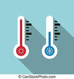 température, symbole., icons., chaud, vecteur, thermomètre, froid