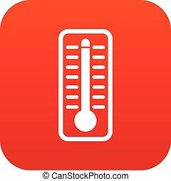 température, thermomètre, élevé, indique, numérique, rouges, icône