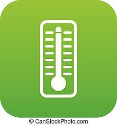 température, thermomètre, élevé, indique, vert, numérique, icône