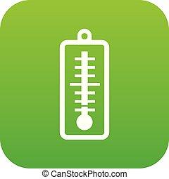 température, thermomètre, indique, vert, bas, numérique, icône