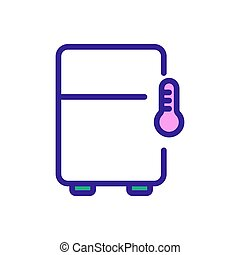 température, vecteur, illustration, maintenir, réfrigérateur, icône, contour