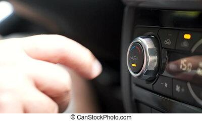 température, voiture, ajustement, chauffeur, climatiseur, ton