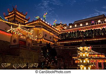 tempel, angezündet, auf, für, chinesisches neues jahr