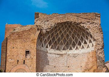 tempel, befindlich, rom, hügel, roma, venus, ruinen, velian