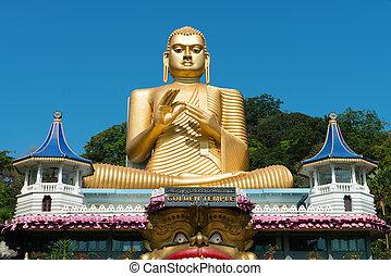 tempel, dambulla, goldenes, sri lanka