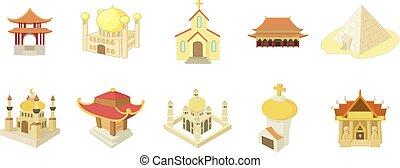 tempel, ikone, satz, karikatur, stil