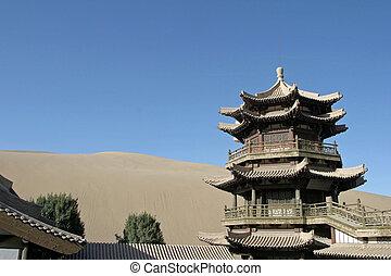 tempel, in, halbmondsee, mingsha, shan, dunhuang, porzellan
