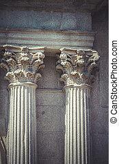 tempel, korinther, kapitalien, stein, spalten, in, altes...