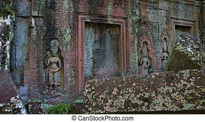 tempel, muren, video, oud, ruin., verlichting, beeldhouwwerken
